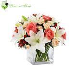 Glass Vase of  Rose, Lily, Carnation
